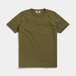 Organic Cotton Slub T-shirt (Olive) T-shirts HAWKSMILL DENIM CO
