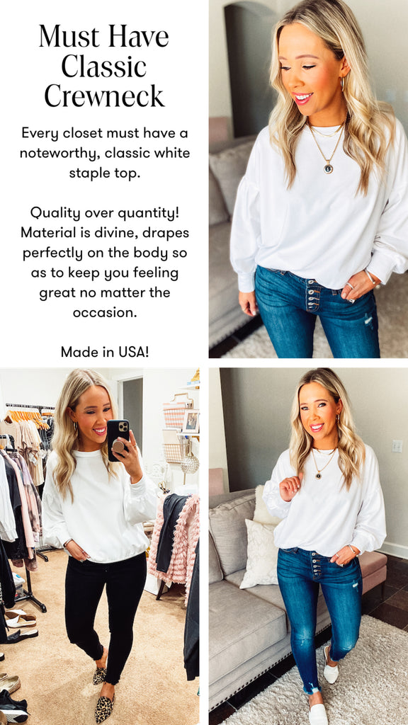 must have classic white crewneck