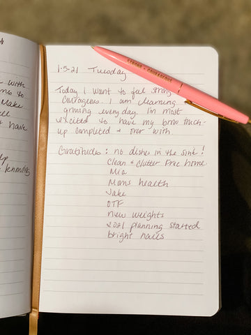morning routine, gratitude lists, inspirational pens and notebooks