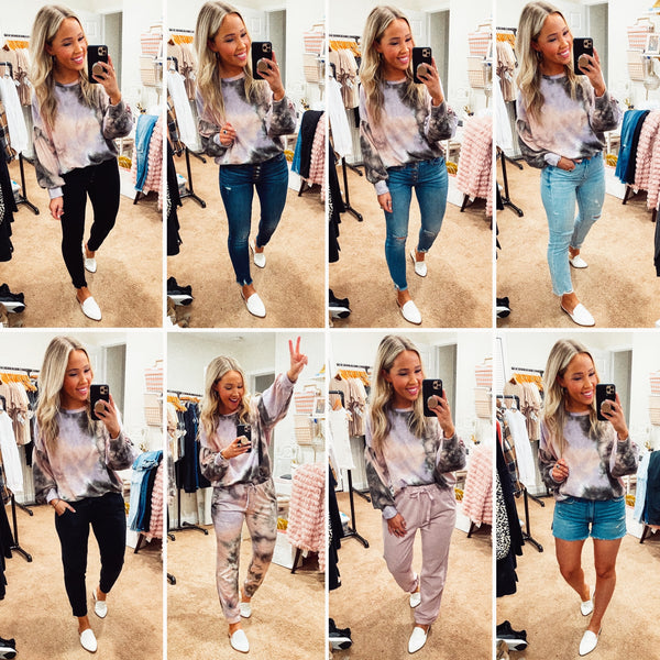 mix and match tie dye lounge set with denim and joggers