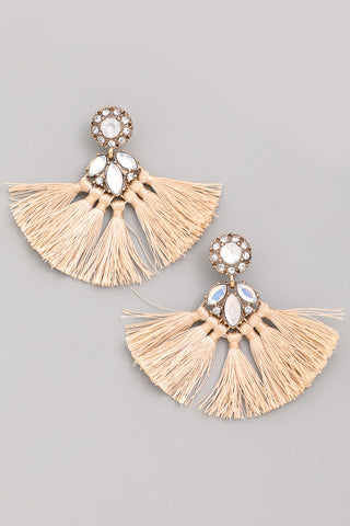 Rhinestone Tassel Fan Drop Earrings - Beige