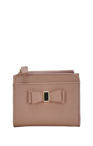 Bow Detail Wallet - Nude