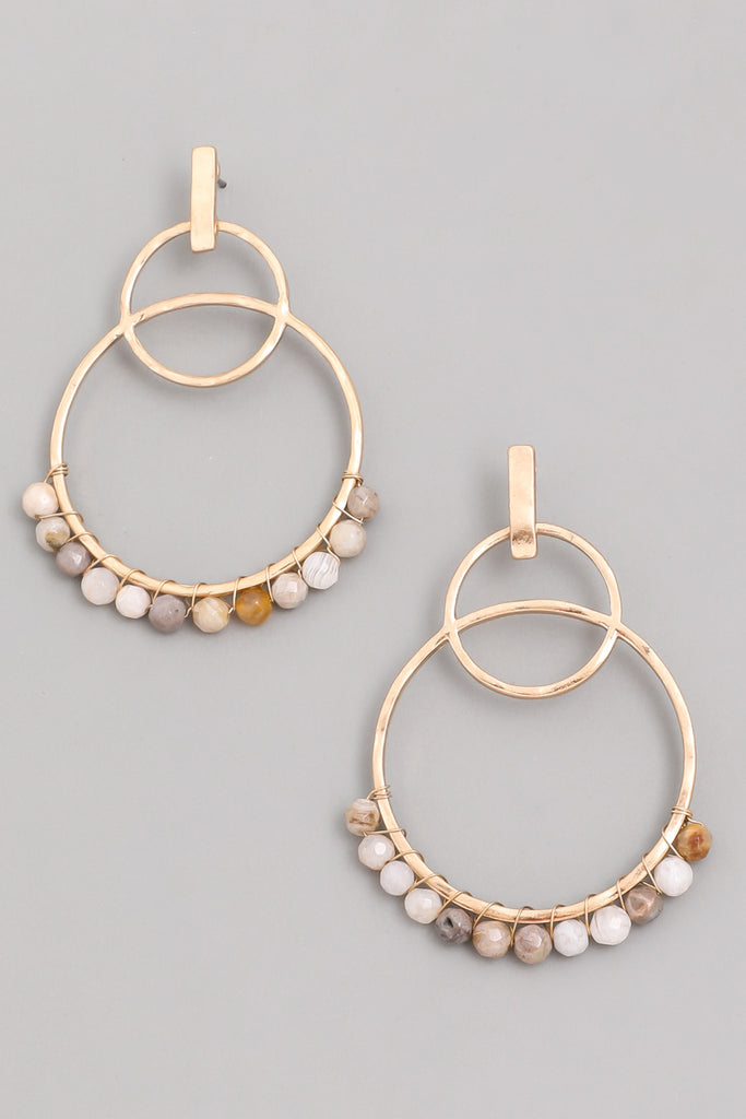 Circle Bead Drop Earrings - Multi