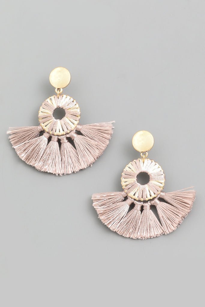 Circle Fan Drop Earrings - Mauve