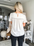 Short Sleeve Embroidered Detail Top - Natural/Black