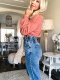 High Rise Paperbag Waist Mom Jeans