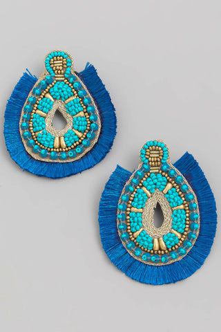 Boho Teardrop Fan Earrings - Blue