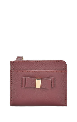 Bow Detail Wallet - Sangria