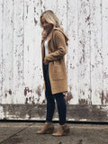 Hooded Knit Cardi - Camel