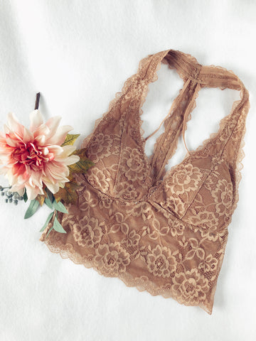 Lace Halter Bralette - Milk Tea