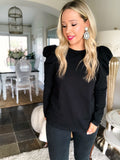 Puff Sleeve Top - Black