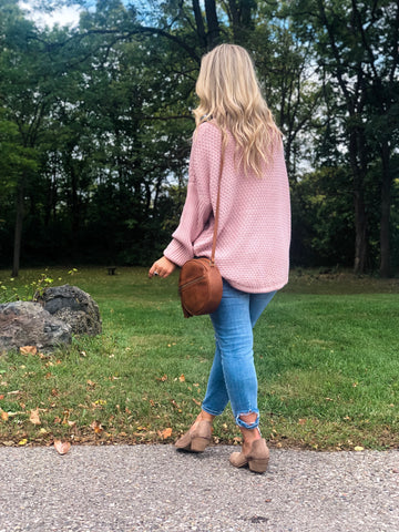 Knit Cowl Neck Pullover - Blush