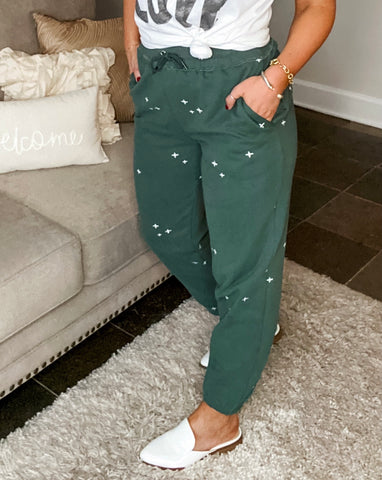 Embroidered Sweatpants - Vintage Green