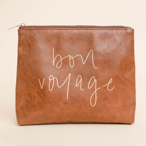 Bon Voyage Faux Leather Makeup Bag