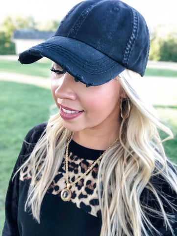 Black Distressed Baseball Hat