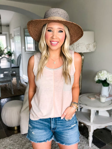 Keeping It Cute Color Block Top - Almond