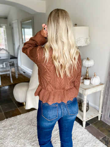 Serving Looks Scalloped Mock Neck Sweater - Camel