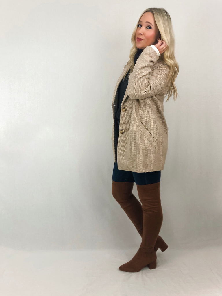 Herringbone Coat - Light Taupe/Ivory
