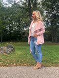 Drape Front Brushed Cardigan - Blush