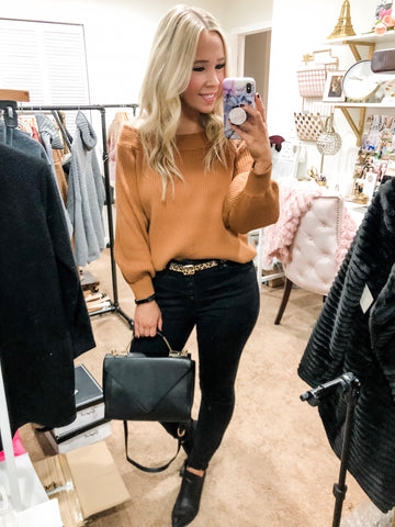 Off Shoulder Sweater - Caramel