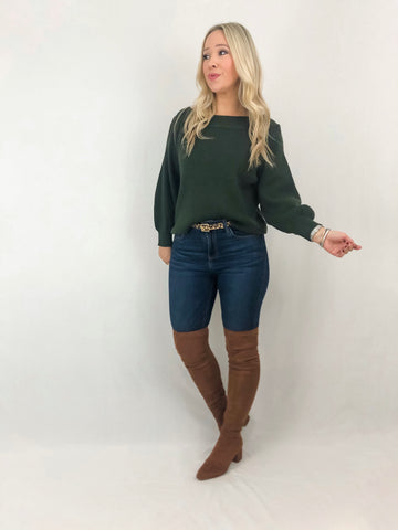 Off Shoulder Sweater - Olive