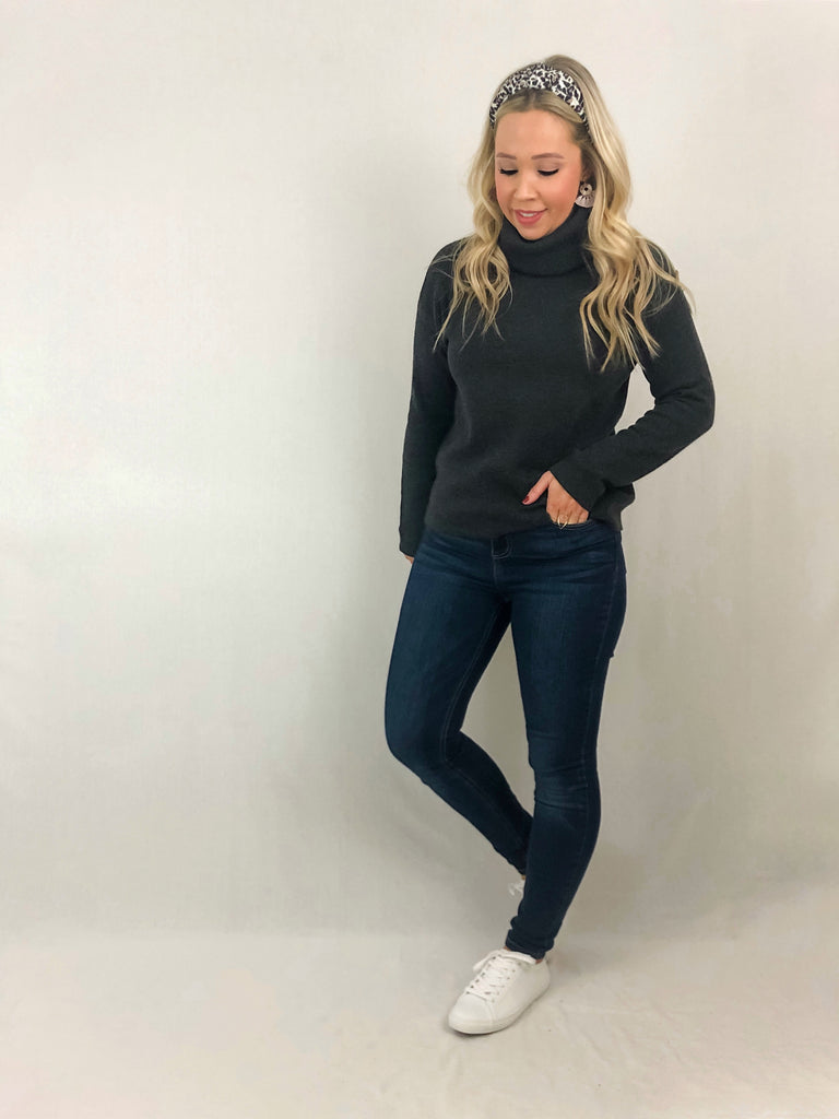 Soft Knit Turtleneck - Charcoal
