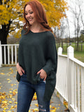 3/4 Sleeve Hi Lo Sweater - Sea Green