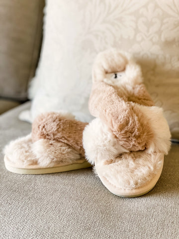 Snuggle Slippers - Cream/Tan