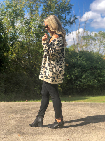 3/4 Sleeve Leopard Cardigan - Cream