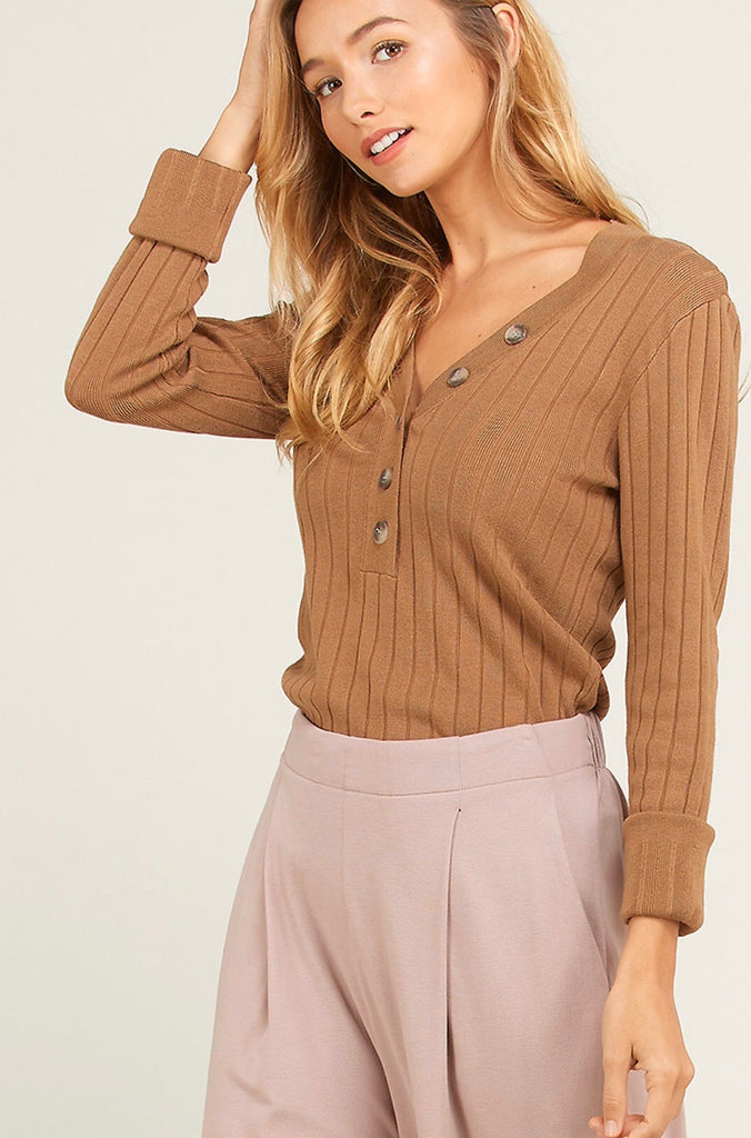 Ribbed Long Sleeve Top - Camel