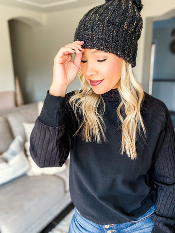 Fireside Sippin Knit Top - Black