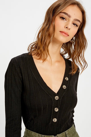 Ribbed Long Sleeve Top - Black