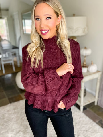 Serving Looks Scalloped Mock Neck Sweater - Wine