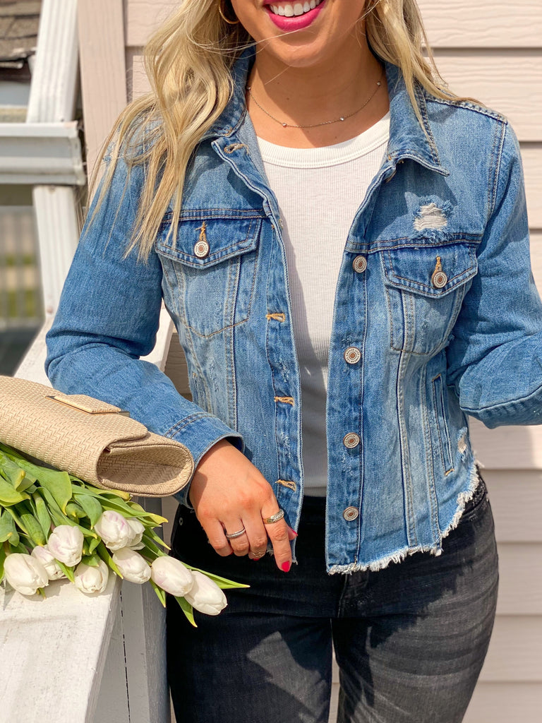 Zoey Distressed Raw Hem Denim Jacket