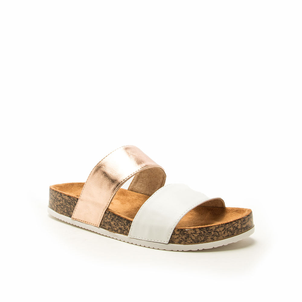 Luka Sandal - White/Rose Gold