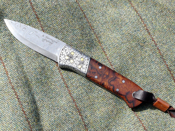 Damasteel,Engraved stainless Bolsters with Gold Acorns and Desert Ironwood Scales