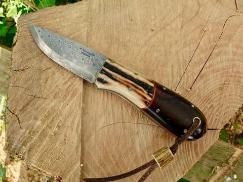 Bushmans Pal, Rose Damasteel,Stag & Desert Ironwood.