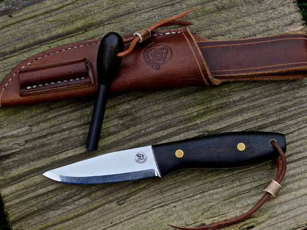 Bushcraft Knife with Bog Oak Scales and Matching Strikefire