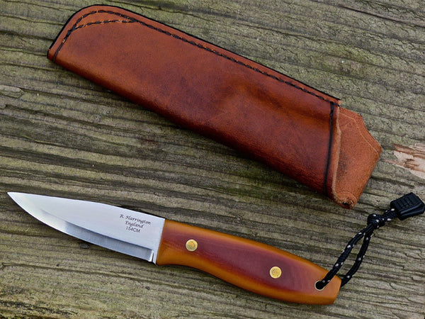 Bison Bushcraft Knife in Rhubarb and Custard Micarta and RWL34 Stainless Steel