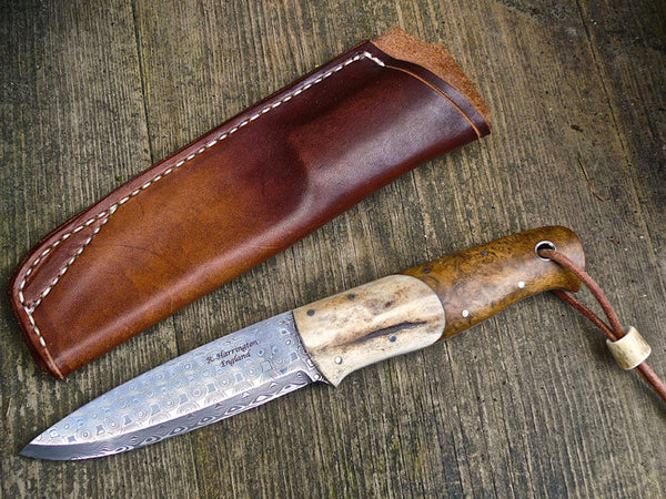 Woodie Knife with Acacia Burl Scales, Antler Bolsters and Damasteel Blade