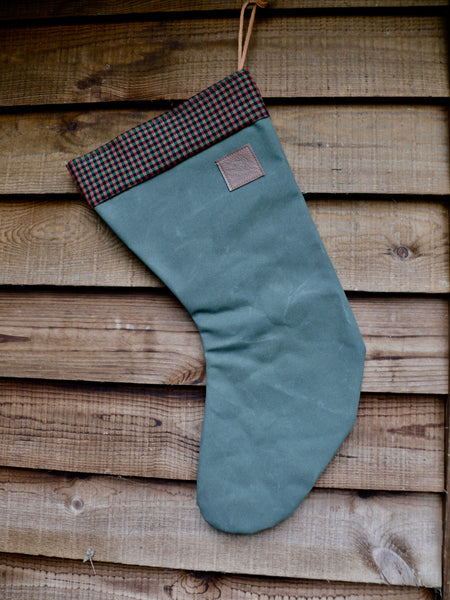 Canvas Christmas Stocking Green Red