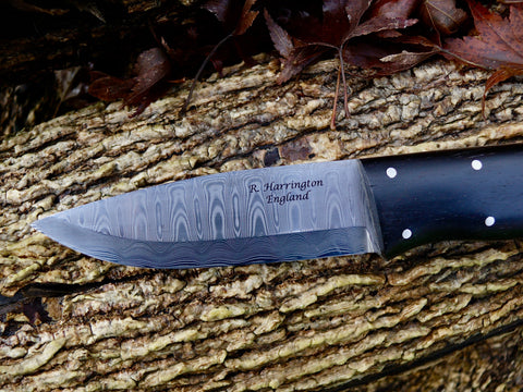 R Harrington Woodsman Knife Damasteel
