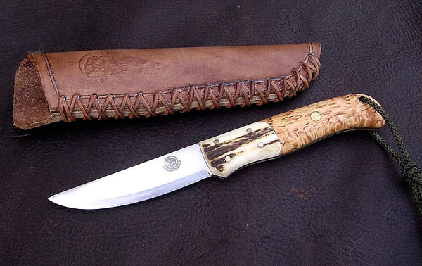 Nordic Knife with Curly Birch Scales and Antler Bolsters