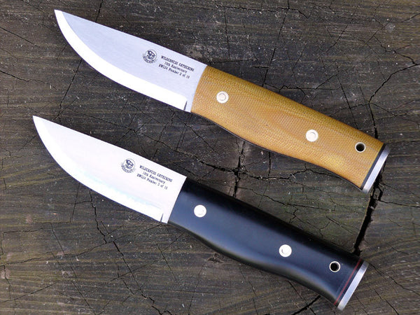 natural and Black Micarta Wilderness Gathering Knives
