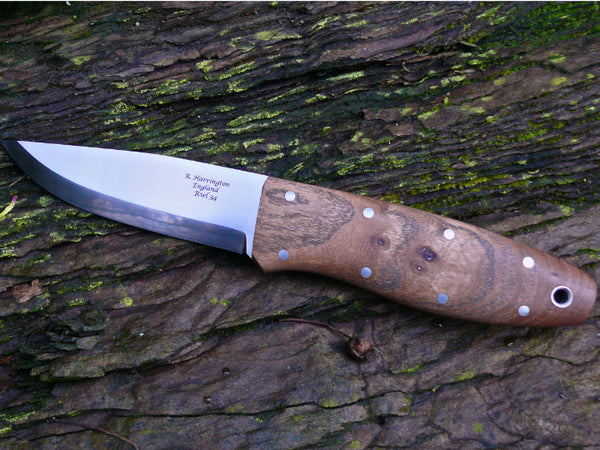 Bushcraft Knife in RWL34 and Burr Elm Scales and Nickel Silver Pins.