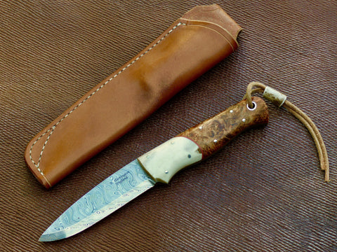 Woodie Knife Bison Bushcraft/ Roger Harrington Bjorkman Twist Damasteel