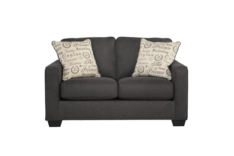 Alenya Vintage Casual Charcoal Grey Fabric Loveseat