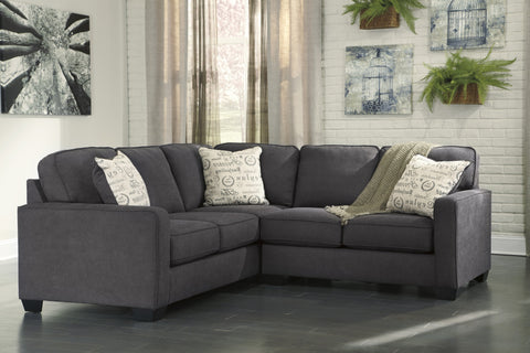 Alenya Vintage Casual Charcoal Fabric Right Chaise Sectional Sofa