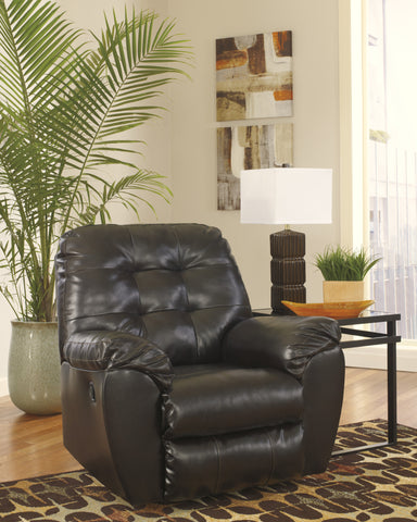 Alliston DuraBlend Contemporary  Chocolate Color Faux Leather Rocker Recliner