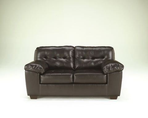 Alliston DuraBlend Contemporary  Chocolate Color Faux Leather Loveseat